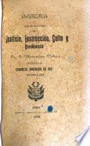 Memoria presentada por el Ministro de Justicia, Culto, Instrucción Pública y Beneficencia al Congreso Ordinario