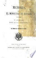 Memoria que el ministro de estado en el despacho de instrucción, culto, justicia y beneficencia presenta al congreso nacional de 1874