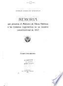 Memoria que presenta el Ministro de Obras Públicas a las cámaras legislativas en su reunión constitucional de ...