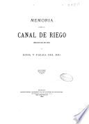 Memoria sobre el canal de riego derivado del río Genil en Écija y Palma del Río