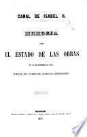 Memoria sobre el estado de las obras en 31 de diciembre de 1854, publicada por acuerdo del Consejo de Administracion