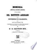 Memoria sobre el estado del Instituto de Segunda Enseñanza de Salamanca