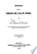 Memoria sobre la soberania del valle de Andorra