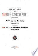 Memoria y cuenta que el Ministro de Educación presenta al Congreso Nacional de la República de Venezuela