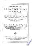 Memorial de la excelente Santidad y heroycas virtudes del Señor Rey Don Fernando Tercero