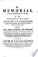 Memorial informativo en defensa de sor Luisa de la Ascension, monja professa de Santa Clara de Carrion