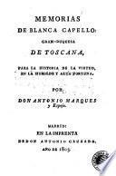 Memorias de Blanca Capello Gran-Duquesa de Toscana