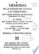 Memorias de la ciudad de Lucena, y su territorio