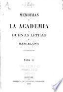 Memorias de la Real Academia de Buenas Letras de Barcelona