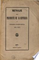Mensaje del presidente de la republica al congreso constitucional de 1875