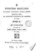 Mercurio peruano de historia, literatura, y noticias públicas que da á luz la Sociedad academica de amantes de Lima, y en su nombre J. Calero y Moreira