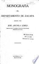 Monografía del departamento de Zacapa