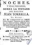 Noches y dias feriados sobre la syntaxis del maestro Allan Zorrella