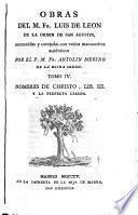 Nombres De Christo, Lib. III. Y La Perfecta Casada