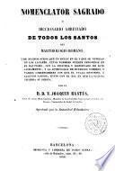 Nomenclator Sagrado ó Diccionario de todos los Santos del Martirologio Romano