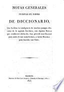 Notas generales puestas en forma de diccionario que facilitan la inteligencia de muchos pasages obscuros de la Sagrada Escritura