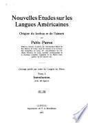 Nouvelles études sur les langues americaines