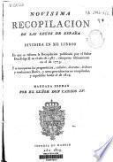 Novisima recopilación de las Leyes de España: Libros I-V