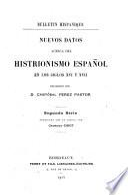 Nuevas datos acerca del histrionismo español en los siglos XVI y XVII.