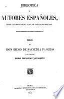 Obras de don Diego de Saavedra Fajardo y del licenciado Pedro Fernandez Navarrete