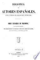 Obras escogidas de filosofos con un discurso preliminar de Adolfo de Castro