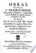 Obras propias i traducciones de latin, griego i toscano con la parafrasi de algunos salmos y capitulos de Job