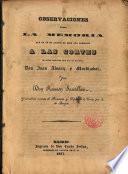 Observaciones sobre la Memoria ... que presentó a las Cortes ... D. Juan Alvarez y Mendizábal