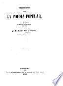 Observaciones sobre la poesia popular