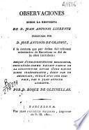 Observaciones sobre la respuesta de D. Juan Antonio Llorente publicada por D. José Antonio de Grassot
