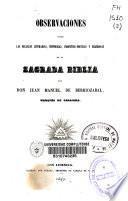 Observaciones sobre las bellezas literarias, históricas, profético-poéticas y religiosas de la Sagrada Biblia