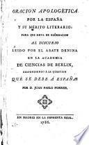 Oracion apologética por la España y su mérito literario