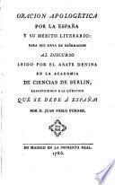 Oración apologética por la España y su mérito literario,