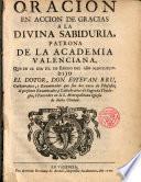 Oración en acción de gracias a la Divina Sabiduria, Patrona de la Academia Valenciana