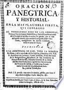Oración panegyrica y historial en la fiesta que consagró en la Hermandad de la Caridad de Sevilla