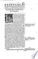 Ordenanças del año de 1609 que resultaron de la visita que desta Audiencia hizo el licenciado Don Gonzalo Perez de Valençuela