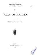 Ordenanzas municipales de la villa de Madrid