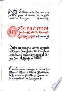 Ordinaciones de la ciudad de Çaragoça ... Transcripcion