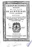 Ordinaciones reales de la villa de Almudebar y sus aldeas