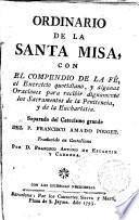 Ordinario de la Santa Misa con el compendio de la fe