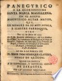 Panegyrico a la Glor. Sta. Maria Magdalena...