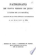 Patronato de Santa Teresa de Jesús á favor de las Españas