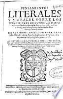 Pensamientos literales y morales sobre los Evangelios de las dominicas despues de Pentecostes ...