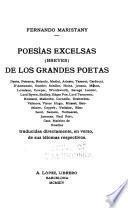 Poesias excelsas (breves) de los grandes poetas, traducidas directamente, en verso, de sus idiomas respectivos