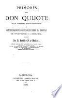 Primoros del Don Quixote en el concepto médico-paicoïógico