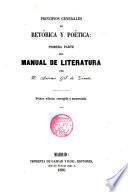 Principios generales de Retórica y Poética Primera parte del Manual de Literatura
