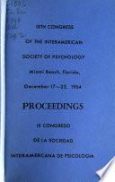 Proceedings of the Ninth Congress of the Interamerican Society of Psychology