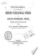 Progamas de las asignaturas de derecho internacional público y derecho internacional privado