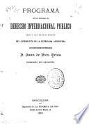 Programa de las lecciones de derecho internacional público