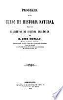 Programa de un curso de historia natural para los institutos de segunda enseñanza