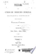 Programa del curso de derecho criminal desarrollado en la Universidad de Pisa